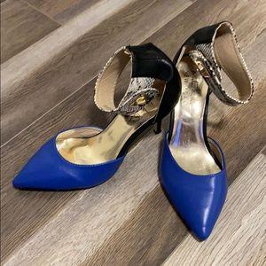 NICOLE MILLER - blue pumps. snakeskin straps